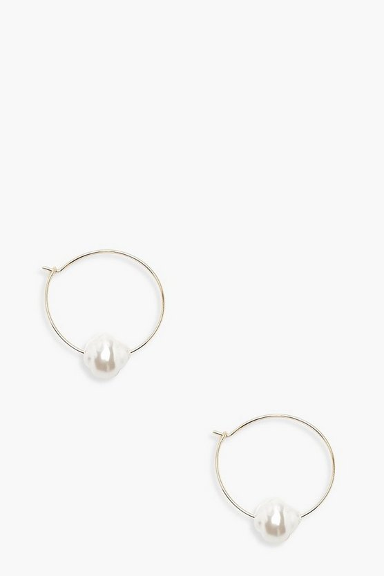 Womens Gold Delicate Pearl Hoop Earrings