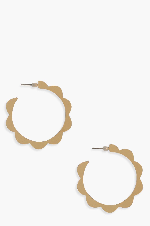 Scallop Edge Hoop Earrings