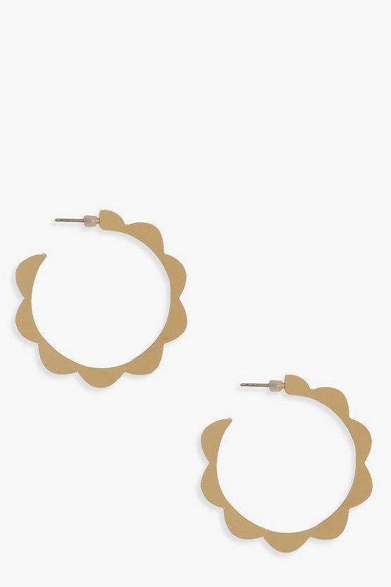 Scallop Edge Hoop Earrings