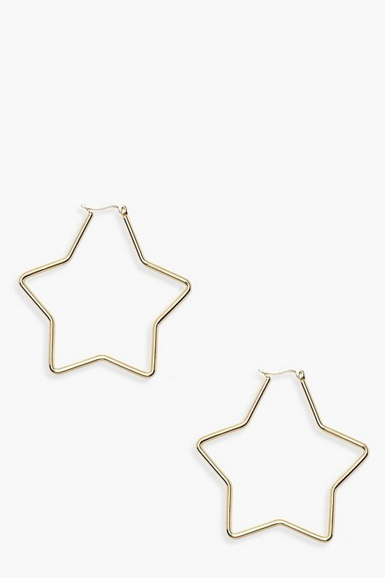 Womens Gold Simple Star Hoop Earrings