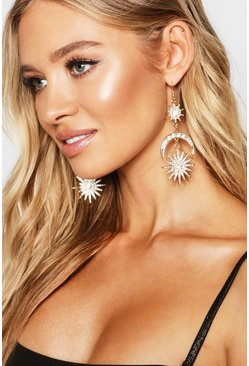 Gold Sun & Moon Diamante Earrings