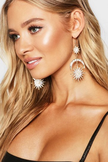 Womens Gold Sun & Moon Diamante Earrings