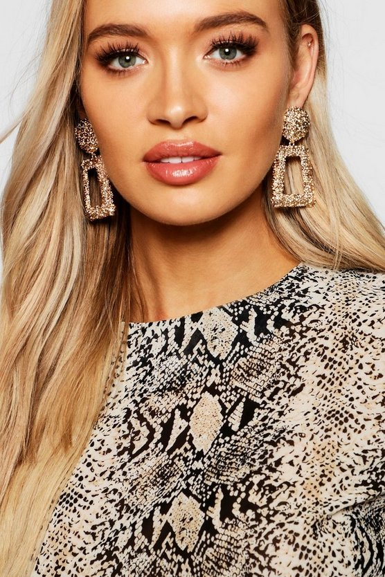 Gold Textured Oversized Statement Earrings