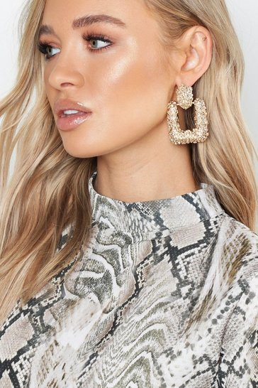 Gold Square Textured Oversized Earrings