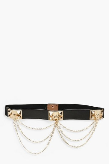 Womens Black Chain & Ring Detail Waist Belt