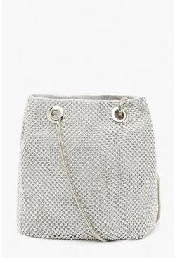 Womens Silver All Over Diamante Bag