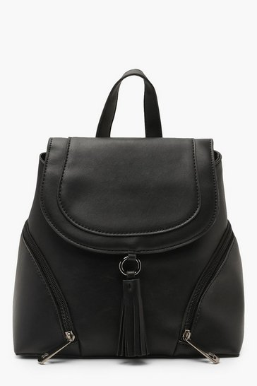 Womens Black Tassel Trim Flap Rucksack