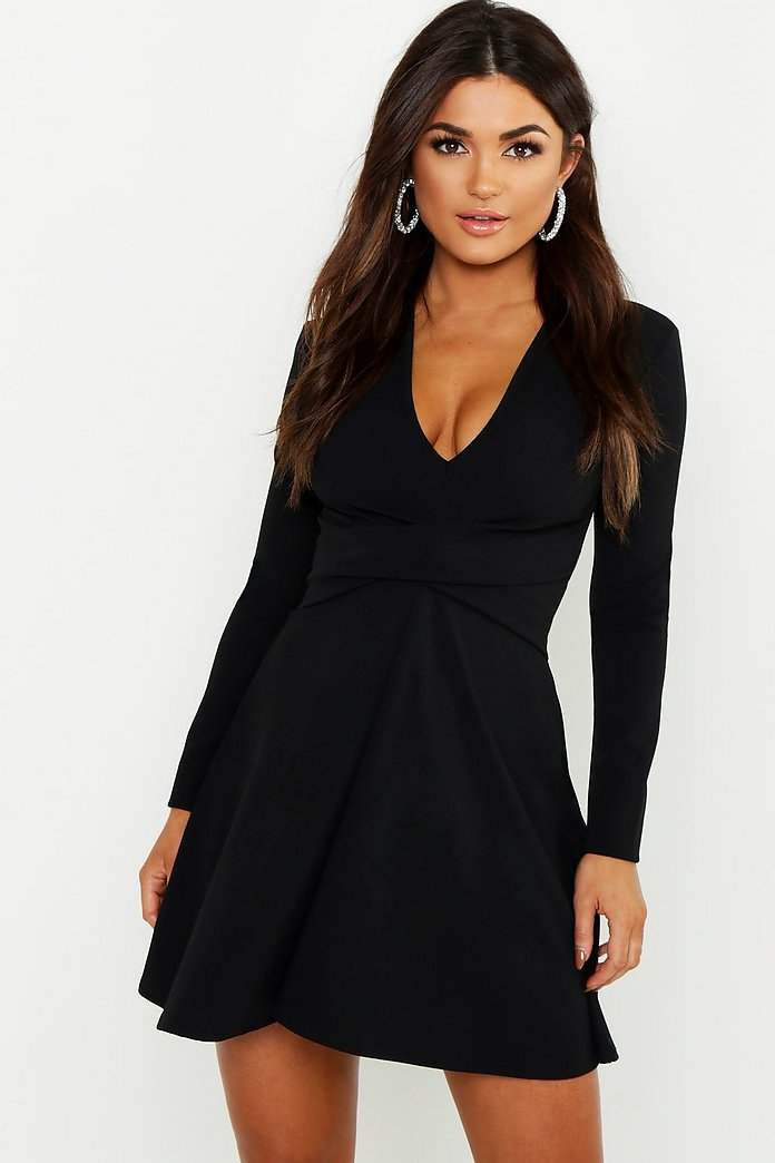 Long Sleeved Plunge Neck Skater Dress | boohoo Australia