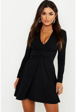 Womens Black Long Sleeved Plunge Neck Skater Dress