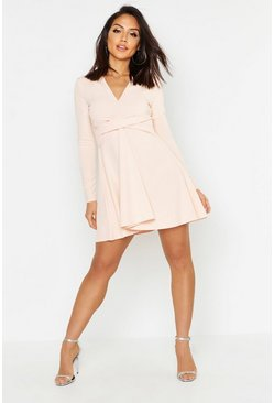 Blush Long Sleeved Plunge Neck Skater Dress