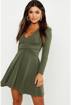 Khaki Long Sleeved Plunge Neck Skater Dress