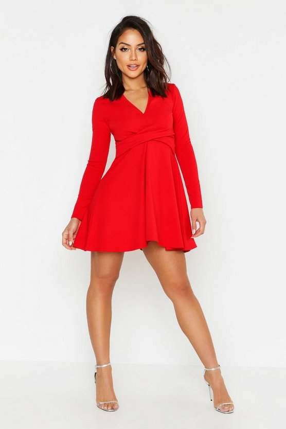 Long Sleeved Plunge Neck Skater Dress