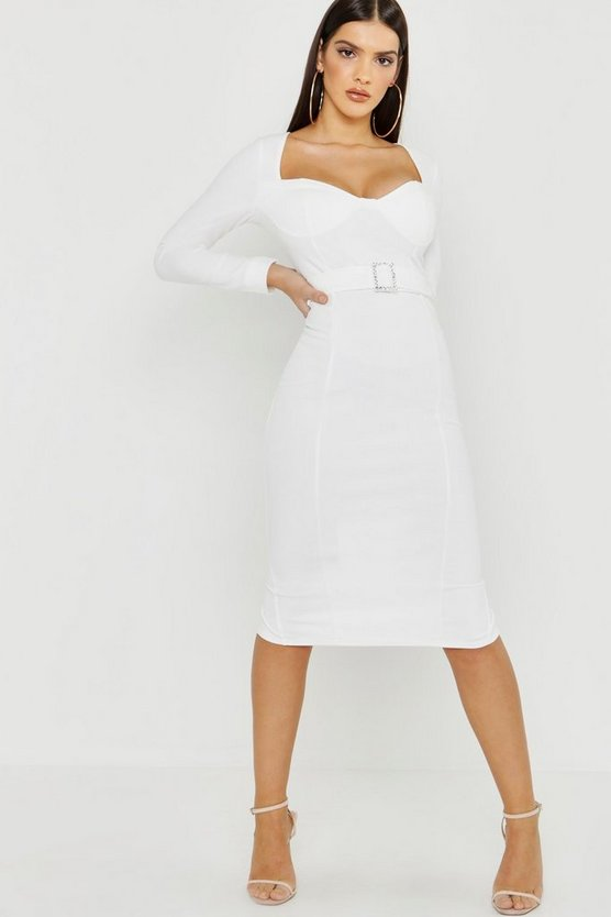 Long Sleeve Diamante Buckle Midi Dress