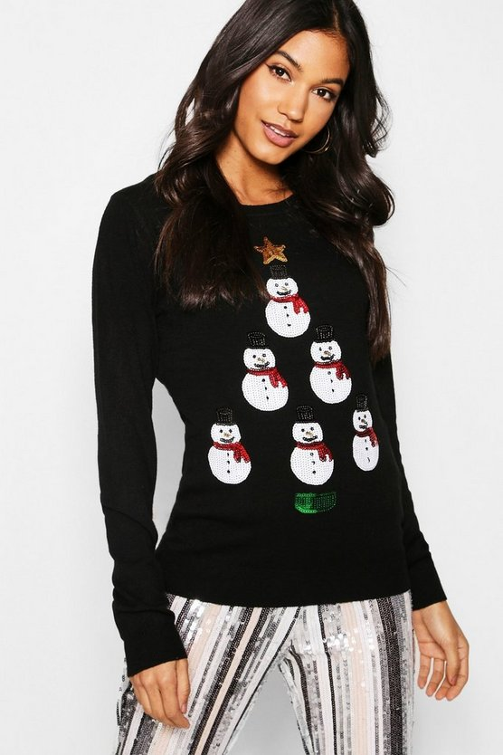 Womens Snowman Tower Christmas Jumper