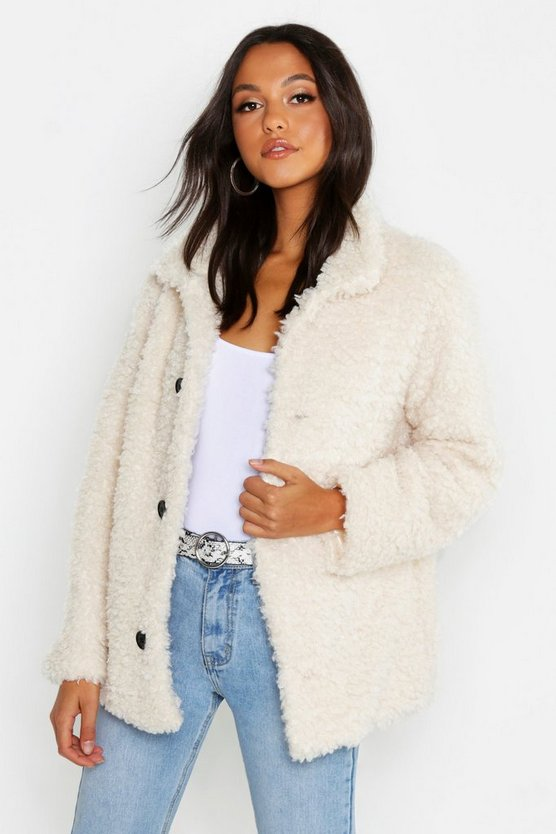 Womens Ivory Teddy Faux Fur Coat