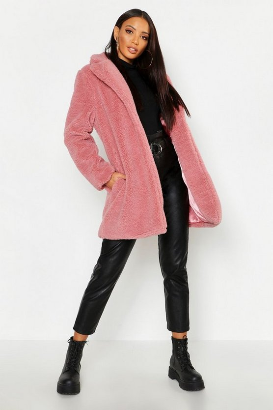 Womens Blush Collared Faux Fur Teddy Coat