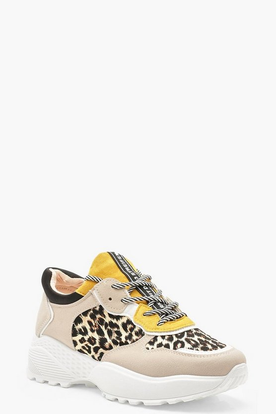 Grey Colour Block Leopard Print Chunky Trainers