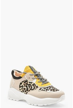 Womens Grey Colour Block Leopard Print Chunky Trainers