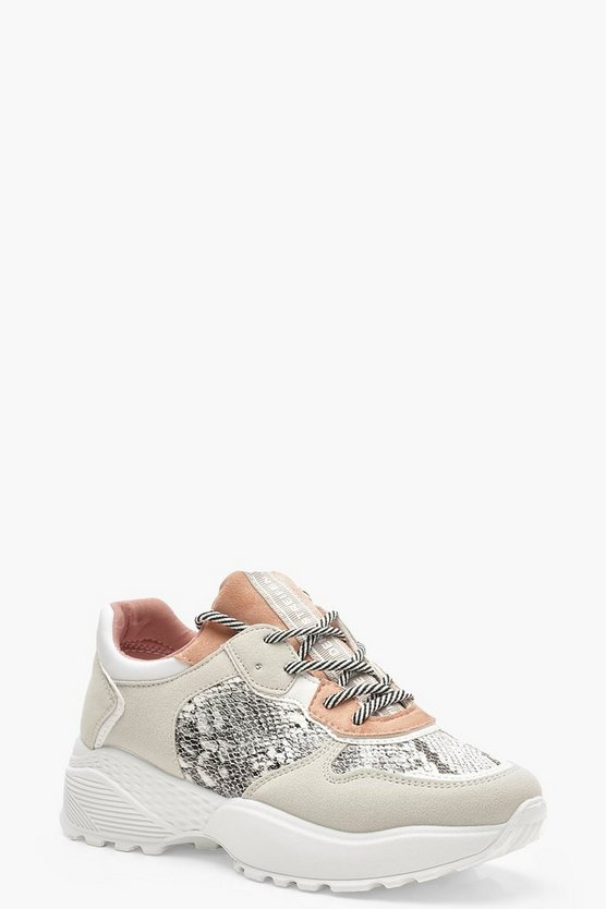 Womens Grey Colour Block Snake Print Chunky Trainers