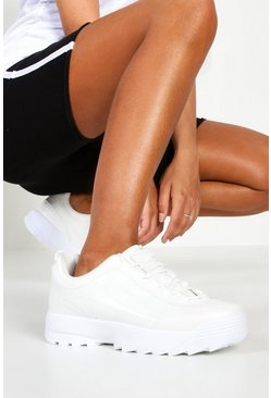 Womens White Chunky Lace Up Sneakers