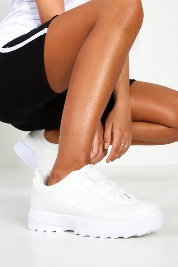 Womens White Chunky Lace Up Trainers