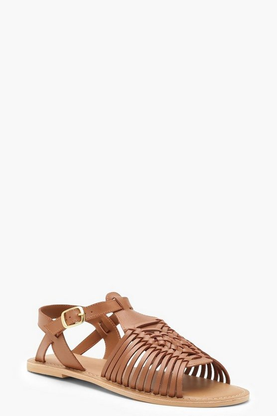 Womens Tan Wide Fit Leather Hurachi Sandals