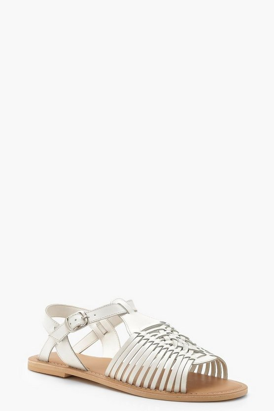 White Wide Fit Leather Hurachi Sandals
