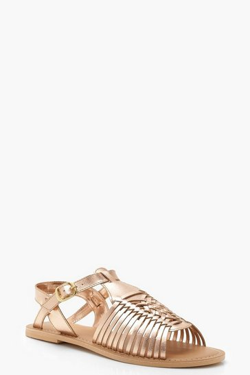 Womens Rose gold Wide Fit Leather Hurachi Sandals