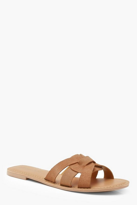 Womens Tan Wide Fit Suede Wrap Front Sliders