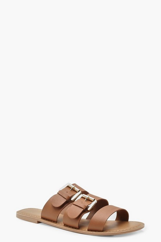 Tan Wide Fit Leather Buckle Sliders