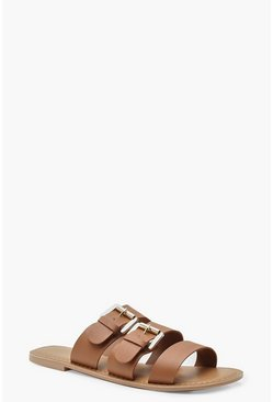 Womens Tan Wide Fit Leather Buckle Sliders