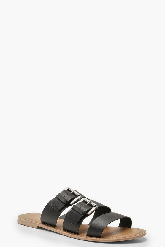 Womens Black Leather Buckle Detail Sliders