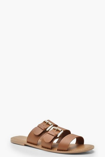 Tan Leather Buckle Detail Sliders