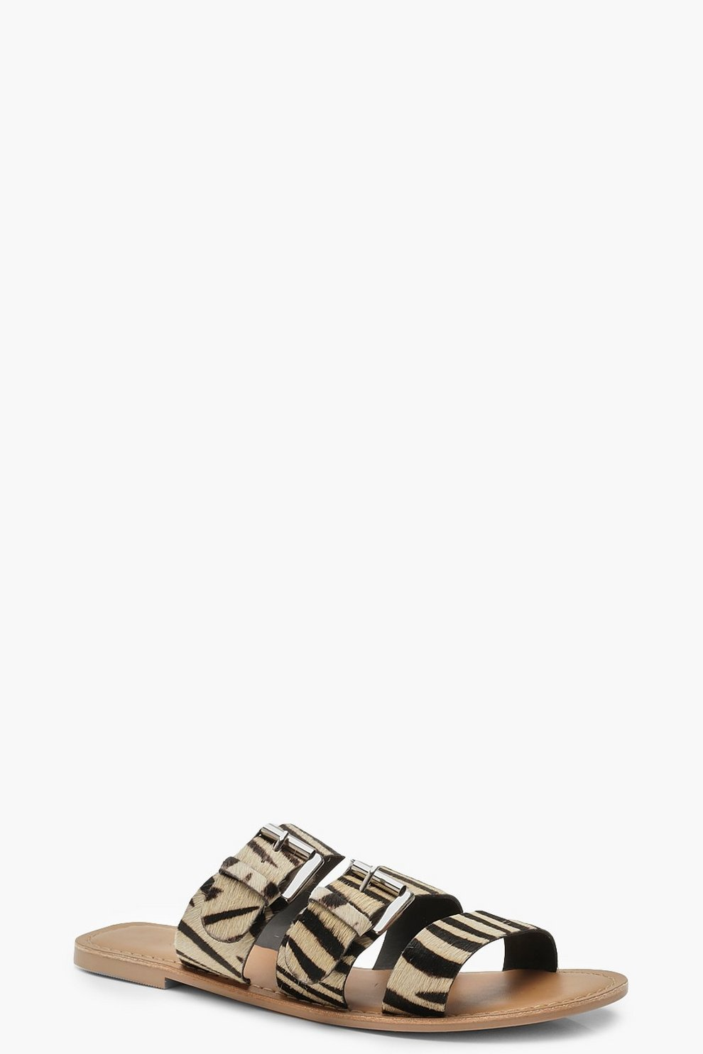 save off pretty nice best supplier Pony Leather Zebra Buckle Sliders | Boohoo