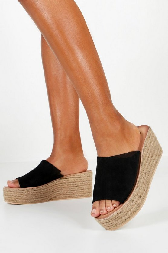 Womens Black Suede Mule Espadrille Wedges