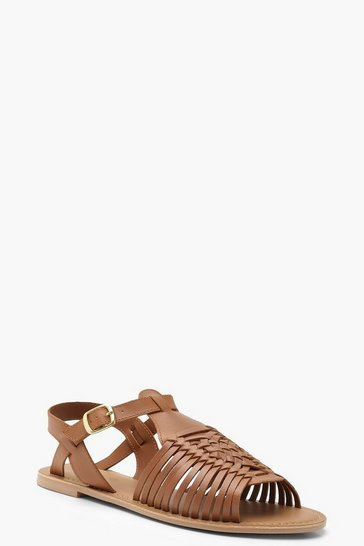 Tan Leather Peeptoe Hurachi Sandals