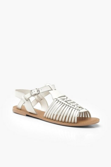 Womens White Leather Peeptoe Hurachi Sandals