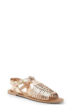 Rose gold Leather Peeptoe Hurachi Sandals