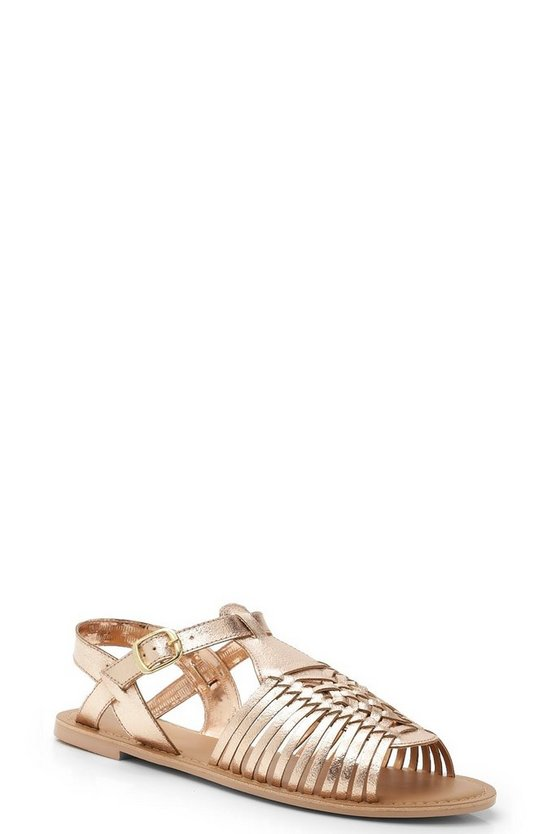 Womens Rose gold Leather Peeptoe Hurachi Sandals