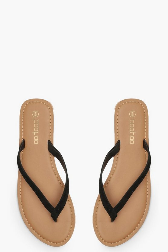 Womens Black Suede Thong Sandals