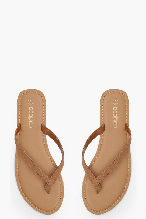 Womens Tan Suede Thong Sandals
