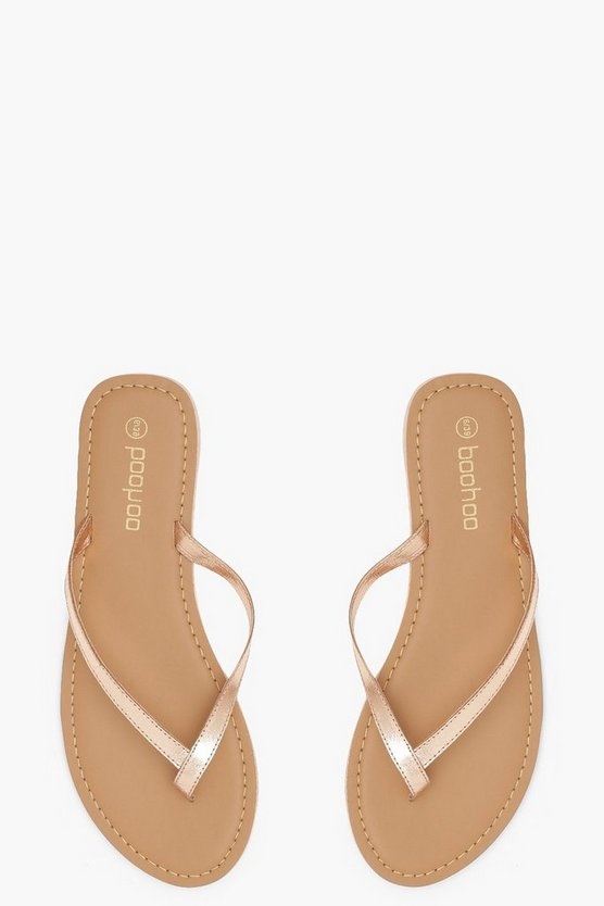 Womens Rose gold Leather Thong Sandals