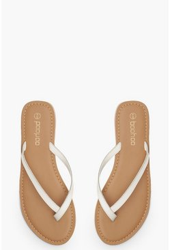 Womens White Leather Thong Sandals