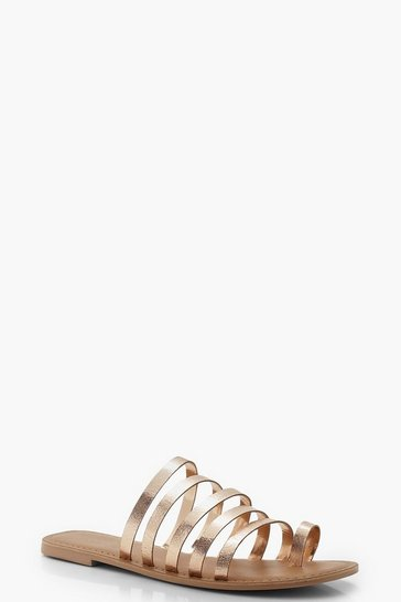 Womens Rose gold Leather Metallic Multi Strap Sliders