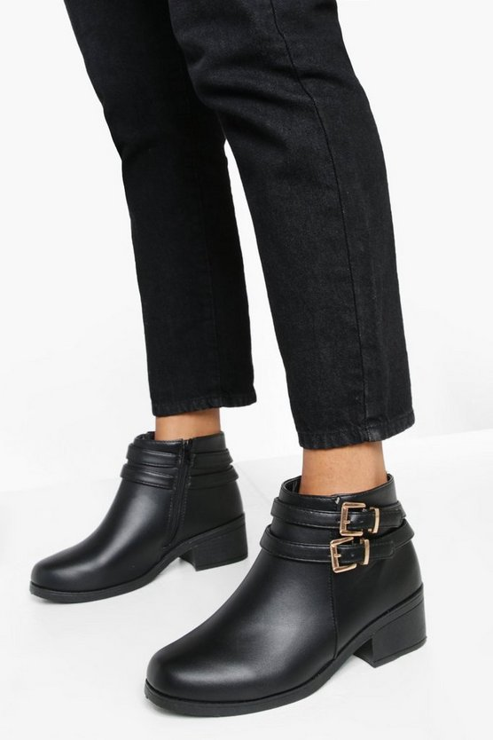 Black Wide Fit Double Buckle Chelsea Boots