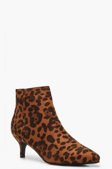 Womens Leopard Kitten Heel Pointed Toe Shoe Boots
