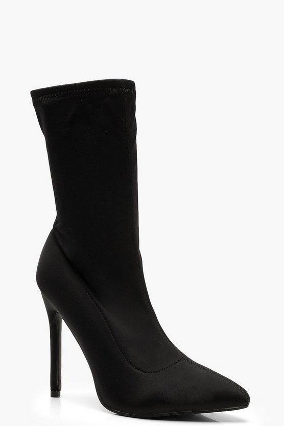 Womens Black Pointed Stiletto Sock Boots