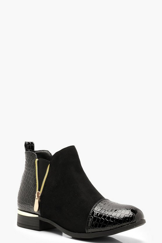 Womens Black Croc Mix Material Chelsea Boots