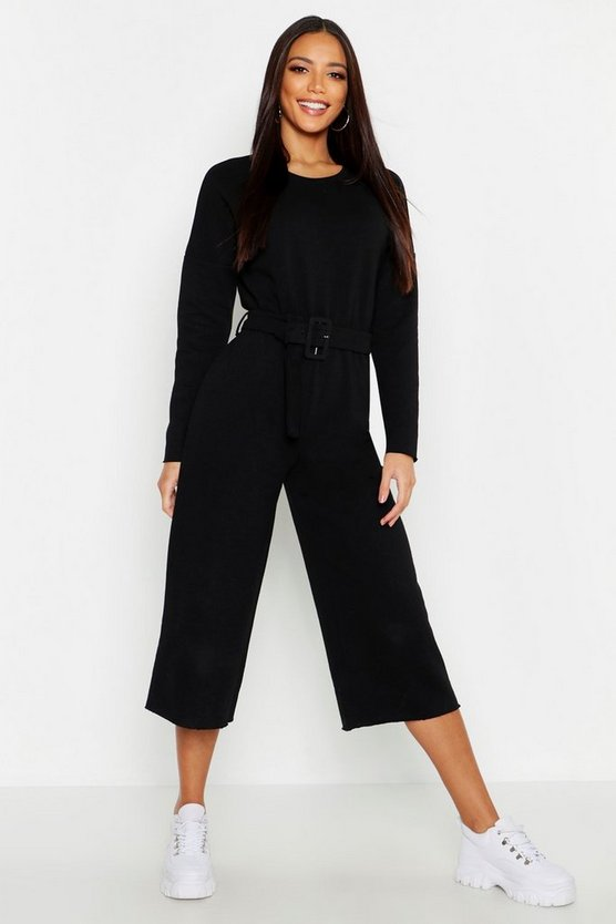 Womens Black Belted Sweat Culotte Jumpsuit