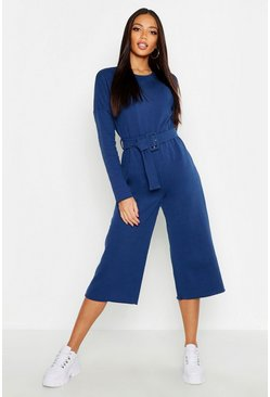 Womens Denim-blue Belted Sweat Culotte Jumpsuit